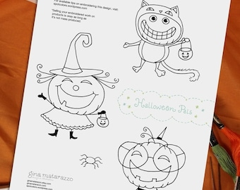 Halloween Pals Embroidery Pattern