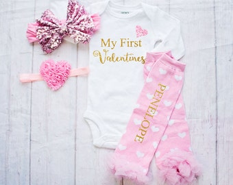 Baby's 1st Valentines - Baby Girl Clothes- Newborn Valentines-Toddler Outfit-Milestone Outfit