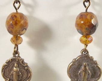 Catholic Earrings with Miraculous Medals and Czech Glass Jewelry