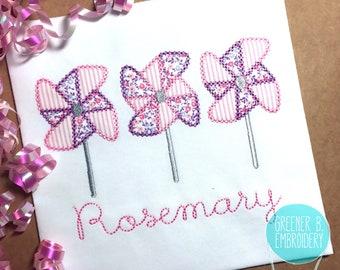 Pinwheel Shirt / Pinwheel Applique / Girl Pinwheel Shirt / Floral Shirt / Personalized Girl Shirt / Spring Applique Shirt / Summer Applique