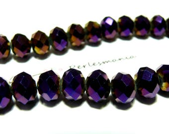 1 strand of approximately 150 beads Rondelle 3 by 4mm faceted glass purple 2J1215