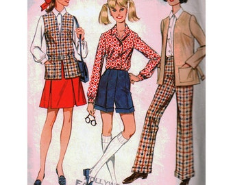 McCalls Sewing Pattern 9499 Misses' Jacket, Vest, Pants, Shorts, Skirt, Shirt - estimated vintage 1960's  Size:  8  Bust 31.5  Used
