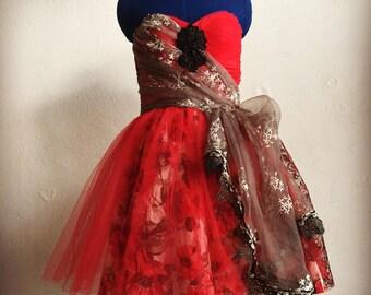 Red strapless dress, holiday, floral, Christmas dress, dress for her, dancing dress, mrs Claus, Santa's helper, designer, jet beading ooak