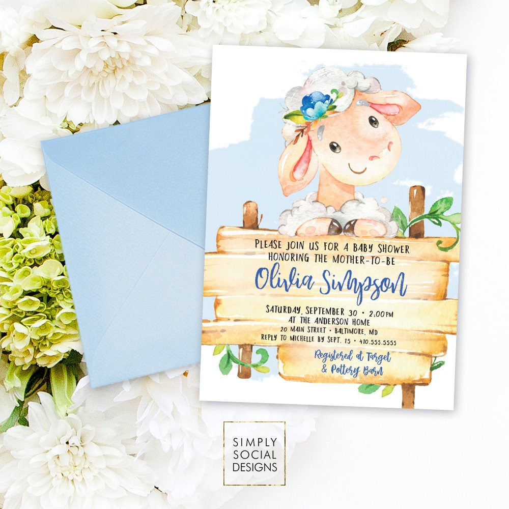 Blue Lamb Baby Shower Invitation - It\'s a Boy Watercolor Sheep Farm ...