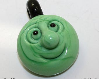 "Man in the Moon Pendant in Green  1 5/8"" tall"