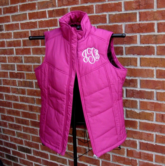 Ladies Puffy Vest in Berry
