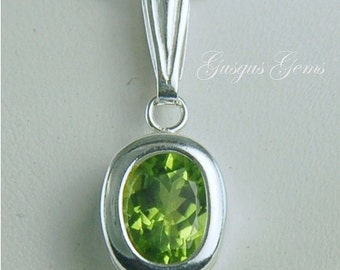 Peridot Necklace Sterling Silver 10x8mm Oval 2.90ct Set In Backset Bezel Natural Untreated