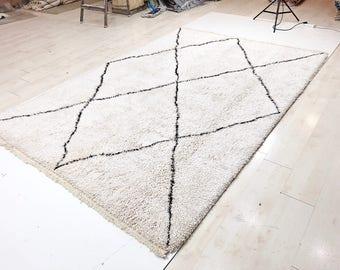 Beni Ourain Rug / Moroccan Rug - 6.62 x 9.61 - 202 x 293 cm