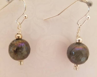 Labradorite earrings, gray earrings, grey earrings