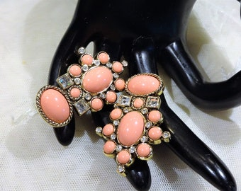 "Vintage Elizabeth Taylor for Avon ""Sea Coral Collection""   Coral Coloured Cabochon and Clear Rhinestone Earrings"
