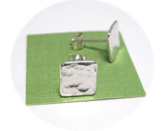 Silver Square Stud Earrings- Hammered Silver Jewelry, Earrings Studs, Square Earrings