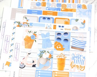 Beachy | Planner Sticker Kit, Weekly Kit for use with Erin Condren LifePlanner™, Summer, Vacation, Holiday, Beach, Tropical, Ocean, Floral