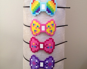 8-bit My Little Pony Rainbow Dash, Fluttershy, Pinky Pie, Twilight Sparkle Character Pixel Art Bow Headbands, Barettes or Bow Tie Pins