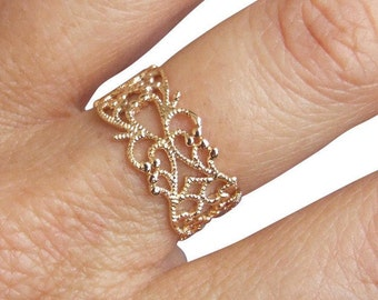 Gold Ring, Spiral Ring, Lace Ring, Ethnic Ring, Band Ring, Yellow Gold Ring, Gold Plated Ring,