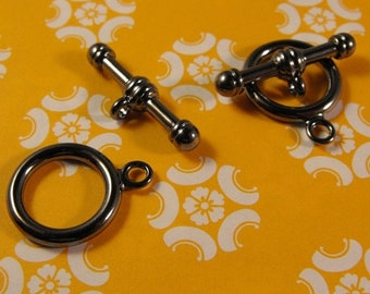 Mothers Day Sale New 2 Pair Pack Gunmetal Finish Brass Toggle and Bar Smooth 16mm Clasps