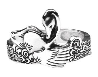 Wide Silver Cuff Bracelet Bathing Swan, Sterling Silver Swan And Water Waves Bracelet, Oxidized Sterling Silver Bracelet