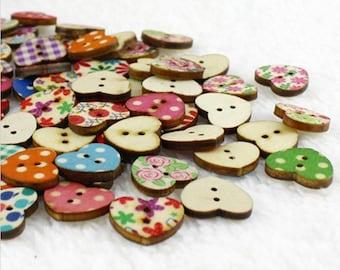 Mixed color buttun, hearts button, wooden button, 10pcs
