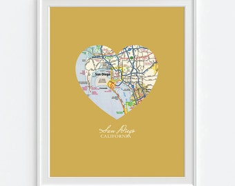 San Diego California Heart Vintage Map ART PRINT, San Diego Valentines Day gift, wedding gift, Mothers Day, Graduation