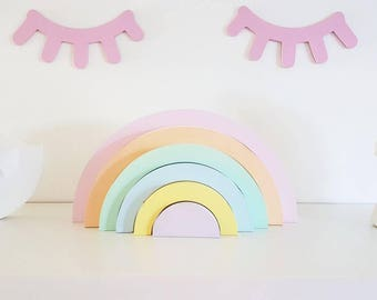 Stacking rainbow nursery decoration, pastel bedroom decor, nursery decor, girls bedroom, shelfie, stackable rainbow, wooden nursery decor