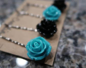 Turquoise and Black Flower Bobby Pin Set - 4 Flower Bobby Pins
