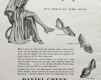 1940 Daniel Green Comfy Slippers Ad - Woman in Dressing Gown - 1940's Fashions - Retro Magazine Advertising