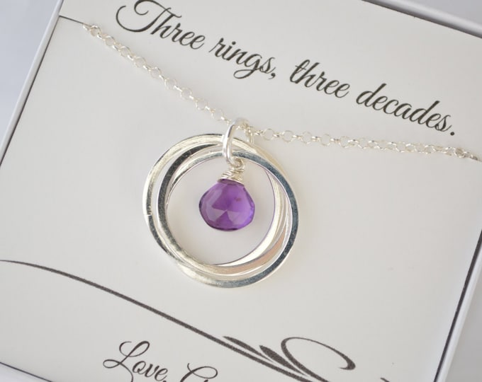 30th birthday gift for her, Amethyst necklace for daughter, Anniversary gift , February birthstone jewelry for women, Birthstone necklace