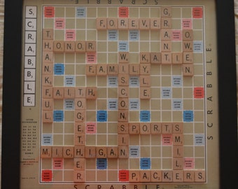 14x14 Completely Customizable Scrabble Board Wall Art, Real Board and Real Tiles