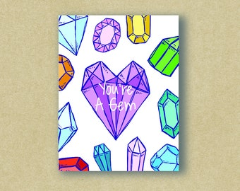 You're A Gem - Thank You Card - Admiration Card - Greeting Card