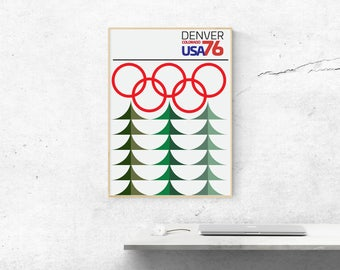 Denver 76 - Winter Olympics Graphic Design Geometric Art Print