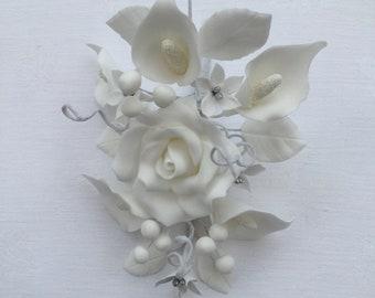 White spray of sugar flowers