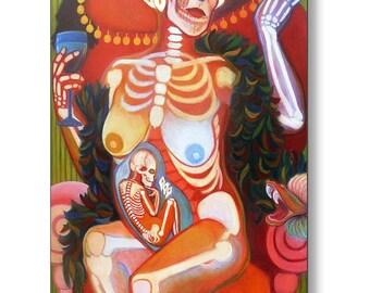 Metal Print Dia de Los Muertos y Ninos Mexican Day of the Dead Mother and Child La Catrina Contemporary Nude Art Print by Deenie Wallace