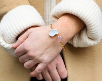 Gold White Agate Druzy Geode & Pink Chalcedony Cuff Bracelet - Statement Bracelet - Boho Bracelets, Geode Jewelry, Geode Bracelet