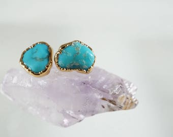 Turquoise Gold Stud Earrings / Raw Turquoise / December Birthstone / Turquoise Post Earrings / Raw Stone Rings / Friendship Rings