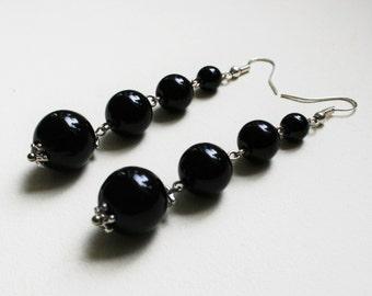 Long black earrings, elegant earrings, drop earrings, black bead earrings, clasic earrings, Sterling silver