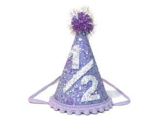 1/2 Birthday Party Hat ||Half Birthday Party Hat || Lavender Party Hat || Unicorn Birthday Party || Mermaid Birthday Party