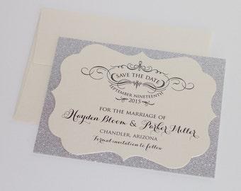 Hayden Glitter Wedding Save the Date card - Couture Save the Date - Glitter Save the Date - Glitter Invitation - Silver Glitter - Sample