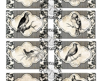 Black and White Elegance, Birds, Vintage Printable Journal Cards