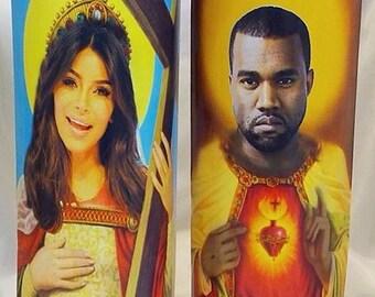 Saint Kim Kardashian and Saint Kanye West Prayer Candle