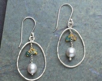 Pearl & Tourmaline Earrings, Green Tourmaline Earrings, Tourmaline and Sterling Silver Earrings, Green Earrings, Silver Pearl Earrings, Art