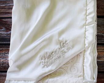 Minky Blanket, Blessing Blanket, Baptism blanket, satin and minky blanket, Christening Blanket, embroidered blanket, monogrammed blanket
