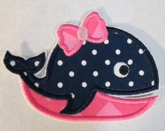 Girl Whales - Iron On or Sew On Embroidered Custom Made Appliques