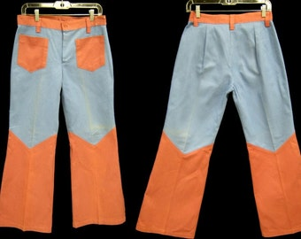 "Vintage DEADSTOCK  70s Color Block Cotton Twill BELL BOTTOMS Jeans Slacks Flares Hippie Era  Size 32"" x 31"""