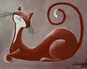 "Original Painting for Sale : Fantasy Cat  ""Smiling Cat in Chocolate"" , acrylic"