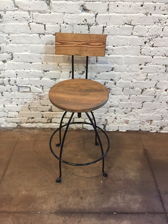 Commercial Swivel Bar Stool With Back Wood Iron Counter Bar