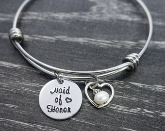 Maid of Honor / Wire Bangle / Wedding Jewelry / Bridesmaid / Charm Bracelet / Maid of Honor Gift / Bride Jewelry / MOH Bracelet