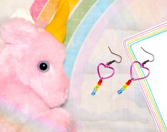 Pink Heart Rainbow Party Kei Earrings