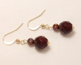 Earrings ruby and chocolate, elegant plated 14 k gold