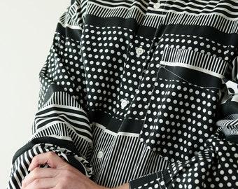 Amazing vintage black & white print shirt/ mens vintage button up shirt/ 70's vintage line dot shirt