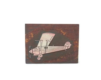 Spirit of St Louis Charles Lindbergh Linocut Print Block by Ed Sheetz  Folk Art Hand Carved Wood Block
