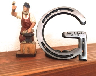 """Metal letter G, initial 5"""" tall, horseshoe western decor, engraving optional to personalize"""